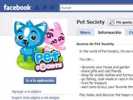 Pet Society Facebooken.