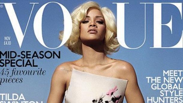 Rihanna, en la portada de la edición británica de 'Vogue'. Foto: 'Vogue'