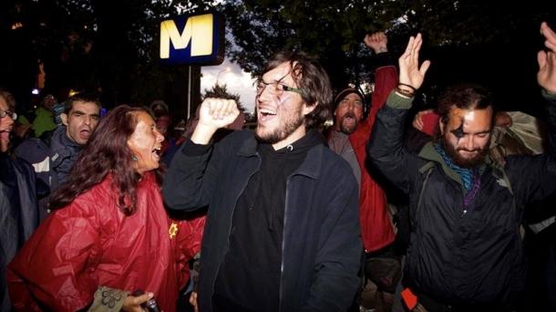 Los 'indignados' han acampado en Bruselas pese a la prohibición vigente.