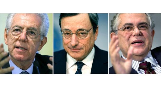De izquierda a derecha: Mario Monti, Mario Draghi y Lukás Papadimos.