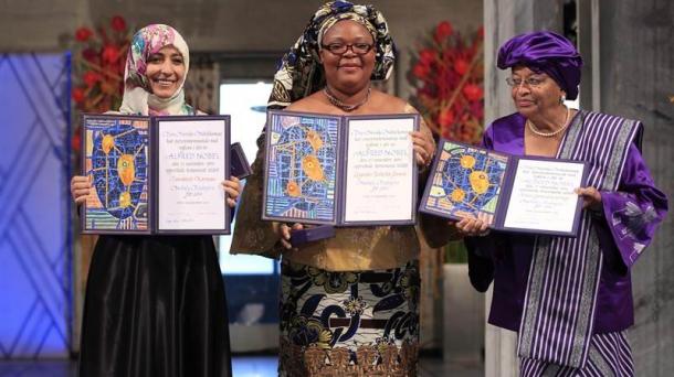 De dcha. a izda: Ellen Johnson Sirleaf, Leymah Roberta Gbowee y Tawakul Karman. Foto: Efe.
