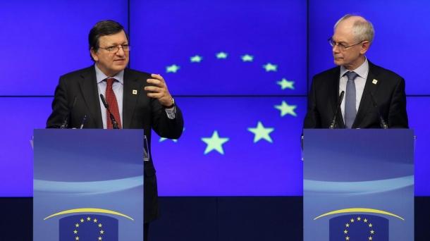 Jose Manuel Durao Barroso (Europako Batzordea) eta Herman Van Rompuy (Europako Kontseilua).
