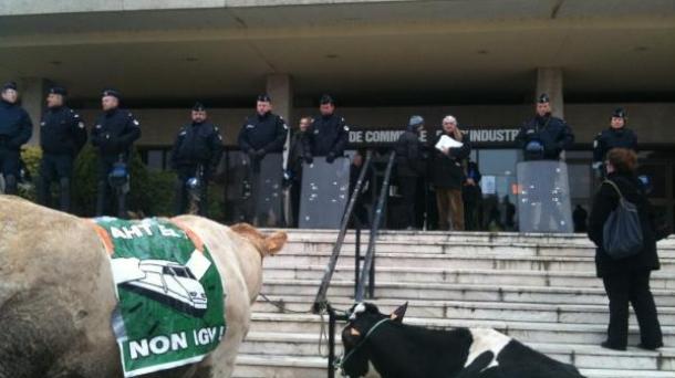Un rassemblement anti-LGV devant la CCI de Bayonne.