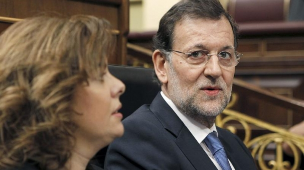 Spanish PM Mariano Rajoy and Vicepresident Soraya Saenz de Santamaria. Photo: EFE