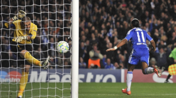 Drogba scored late in the first half to make wasteful Barcelona pay.