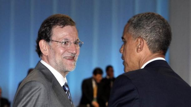 Mariano Rajoy Espainiako Gobernuko presidentea Barack Obama AEBetako presidentea agurtzen.