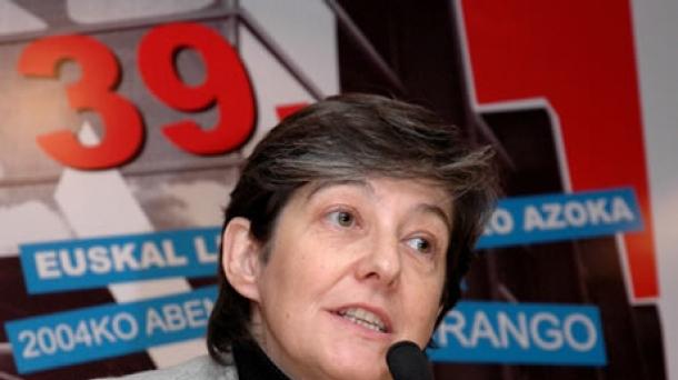 Laura Mintegi Euskal Herria Bilduren lehendakarigaia.