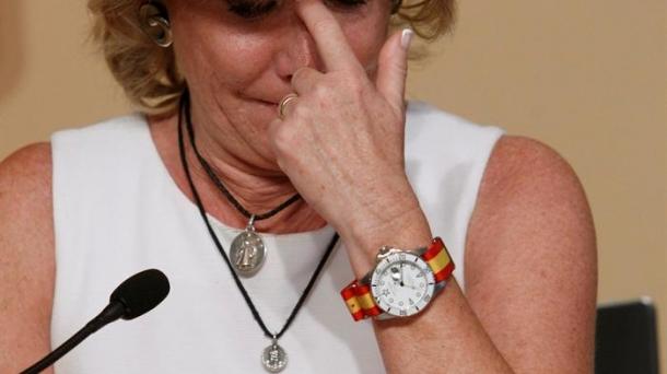 Esperanza Aguirre cuando anunció su retirada de la política. Foto: EFE