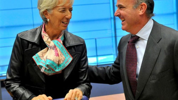 IMF President Christine Lagarde and Spain's Economy Minister Luis de Guindos. Photo: EFE