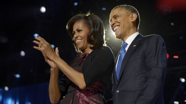 Obama celebra la victoria.