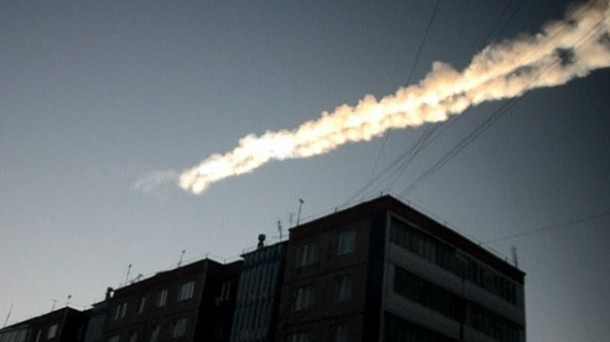 The meteorite raced across the horizon, leaving a long white trail in its wake.