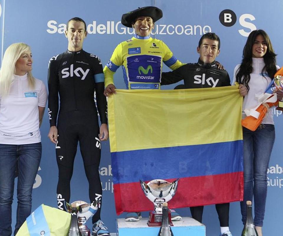 Vuelta al País Vasco: Quintana (ganador), Porte (segundo) y Henao (tercero). Foto: EFE