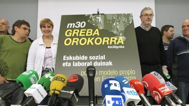 Imagen de la convocatoria de huelga general del 30 de mayo.