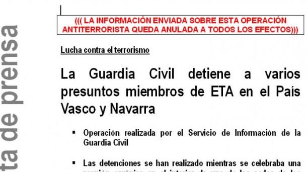 Nota de prensa remitida por el Ministerio del Interior