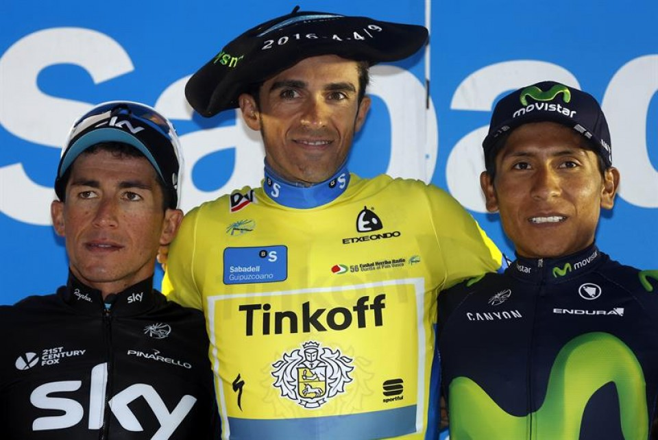 Podium final: Contador, Henao y Quintana / EFE.
