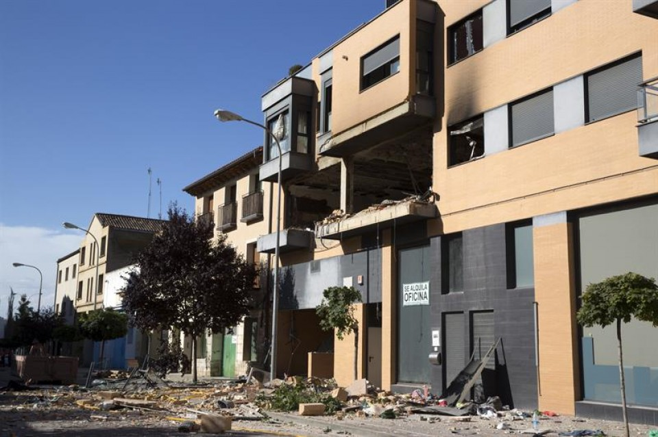 Explosión en Tudela. Foto: EFE.