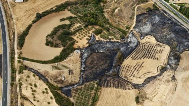 El incendio ha quemado cerca de 4.000 hectáreas en Tafalla. Foto: EFE